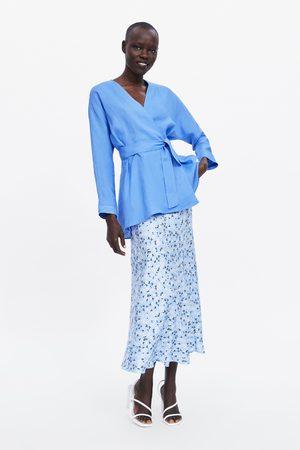 Zara Linnen blouse met ceintuur