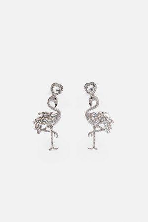 Zara Oorhangers met glanzende flamingo's