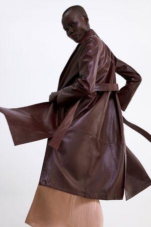 Zara Dames Leren jassen - Leren jas met ceintuur