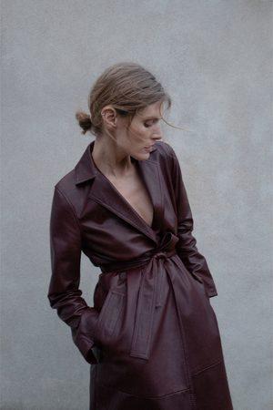 Zara Leren jas met ceintuur