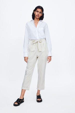 Zara Gestreepte broek met striksluiting