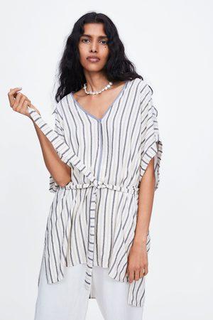 Zara Gestreepte wijde blouse met ceintuur