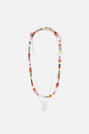 Zara Dames Kettingen - Set kettingen met natuurparel en gekleurde kralen