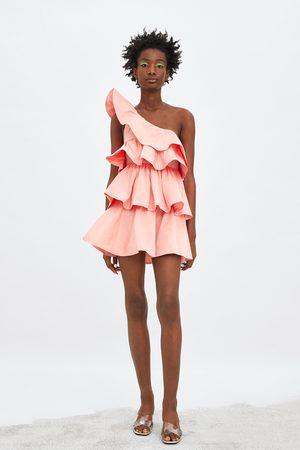 Zara Asymmetrische jurk met volants in limited edition