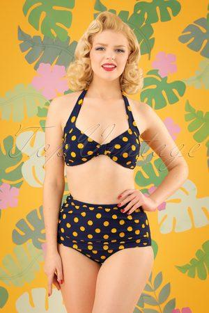 Esther Williams 50s Classic Polkadot Bikini Pants in Navy and Yellow