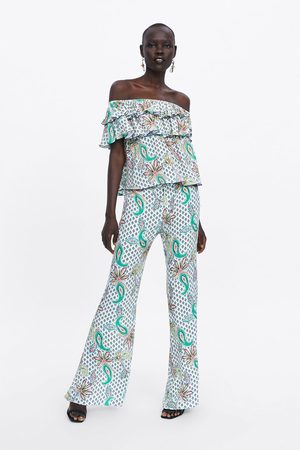 Zara Dames Pantalons - Bell-bottom broek met print