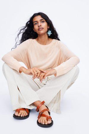 Zara Dames Pantalons - Gestreepte broek met koord