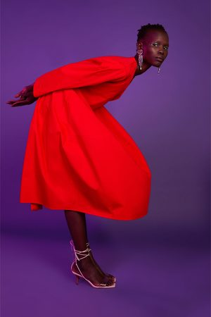 Zara Popeline jurk met ceintuur