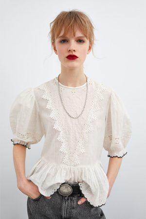 Zara Opengewerkte blouse met borduursels