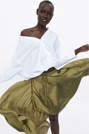 Zara Satijnachtige asymmetrusche rok