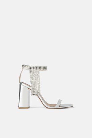 Zara Sandalen met metallic hak en stras