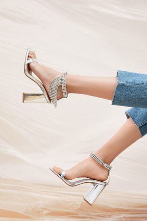 Zara Dames Sandalen - Sandalen met metallic hak en stras
