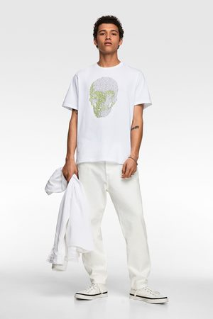 Zara Heren Shirts - T-shirt met doodshoofdprint