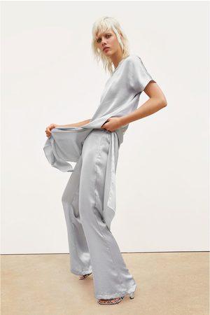 Zara Satijnachtige broek met wijde pijpen