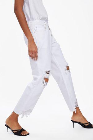 Zara Dames Pantalons - Jeans z1975 in relaxed fit met scheuren