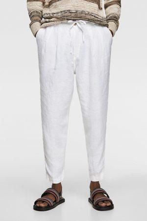 Zara Heren Pantalons - Linnen broek met plooien