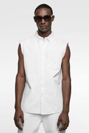 Zara Mouwloos denim overhemd