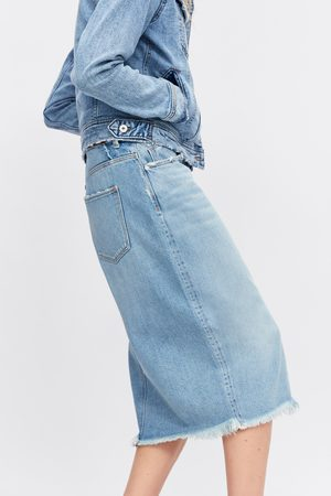 Zara Denim skirt with frayed hem