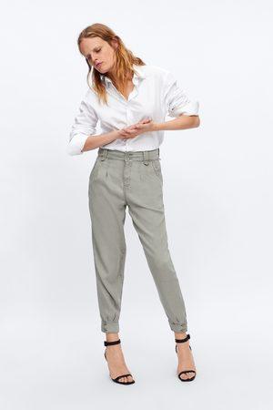 Zara Broek zw premium sweet pleats hw pale green