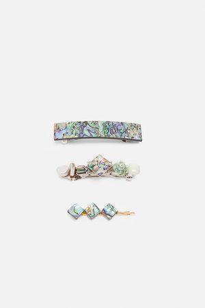 Zara Set haarspeldjes met abaloneschelp