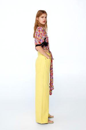 Zara Dames Pantalons - Jeans ze premium vintagehigh waist lemon yellow