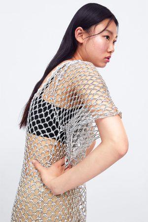 Zara Glanzende tricot tuniek met structuur