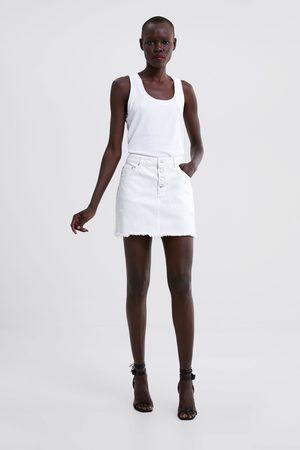 Zara Dames Korte & Mini rokken - Denim minirok met scheuren