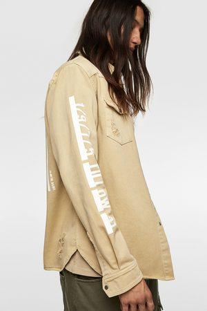 Zara Heren Overhemden - Denim overshirt met tekst