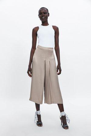 Zara Satijnachtige broek met plooien