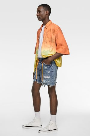 Zara Heren Bermuda's - Tie dye denim bermuda met patches