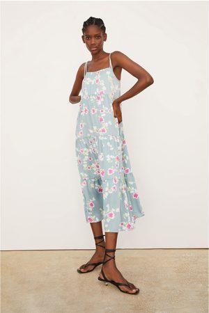 Zara Satijnachtige jurk met bloemenprint
