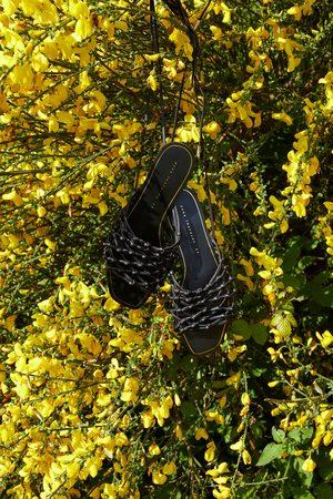 Zara Dames Sandalen - Platte leren sandalen met gevlochten koorden