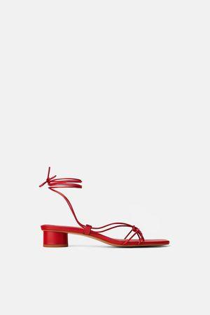 Zara Leren sandalen met hak en dunne bandjes