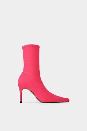 Zara Dames Enkellaarzen - Enkellaarsjes in sokmodel met fluor hak