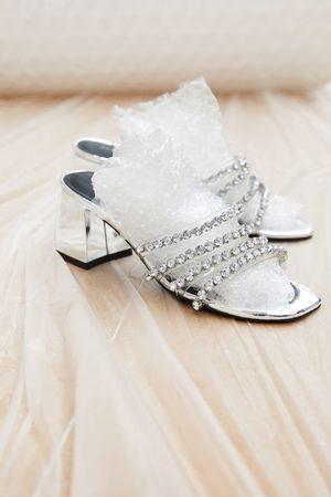 Zara Sandaaltjes met brede hak en siersteentjes