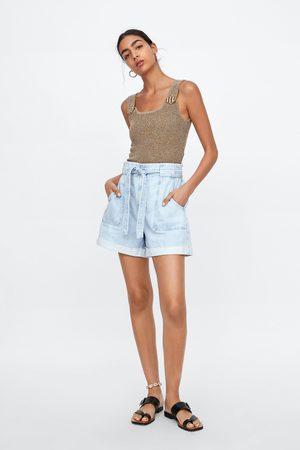 Zara Dames Shorts - Denim short met ceintuur