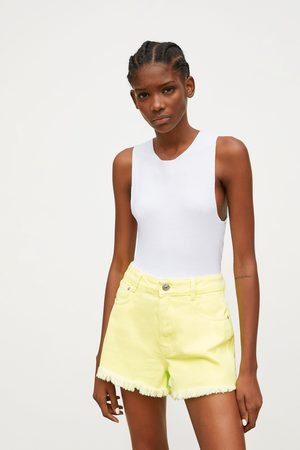 Zara Felgekleurde denim short met hoge taille