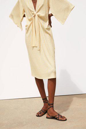 Zara Gestreepte jurk met knoop
