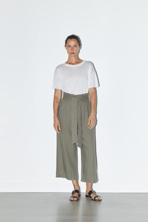 Zara Dames Riemen - Linnen broek met riem