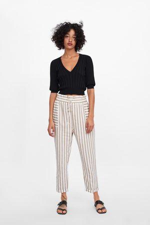 Zara Dames Pantalons - Gestreepte broek met trekkoord