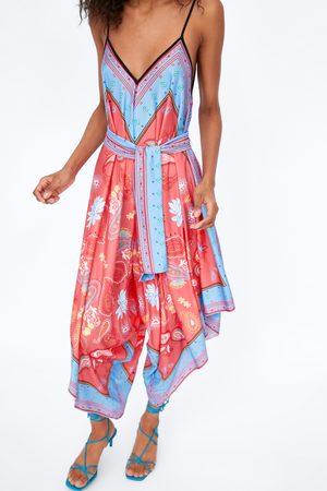 Zara Asymmetrische bedrukte jumpsuit