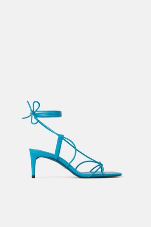 Zara Dames Pumps - Leren pumps met halfhoge hak in metallic look blue collection