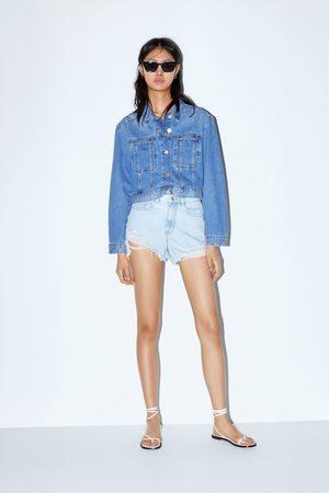 Zara Dames Shorts - Short met hoge taille en scheuren