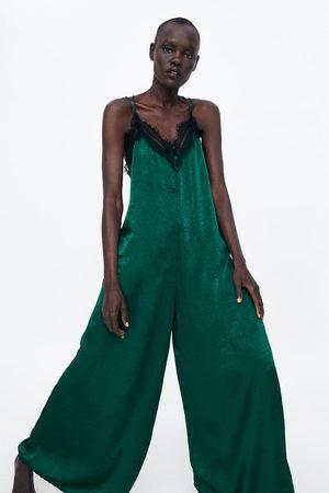 Zara Zijdeachtige jumpsuit in lingeriestijl