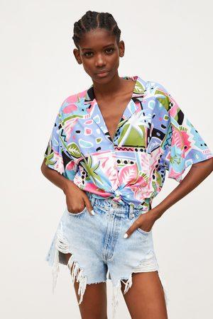 Zara Blouse met print en knoop