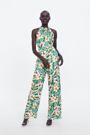 Zara Jumpsuit met halterkraag en bloemenprint