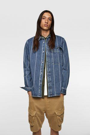Zara Heren Overhemden - Gestreept denim overshirt