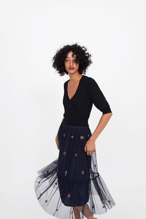 Zara Embroidered tulle skirt