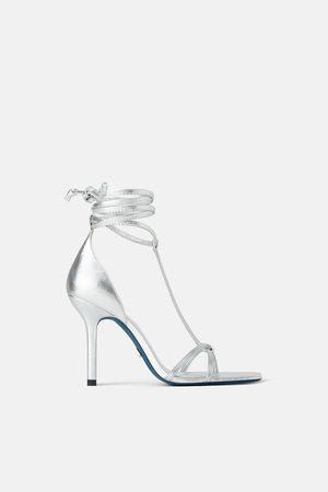 Zara Leren sandalen met hak en veter blue collection