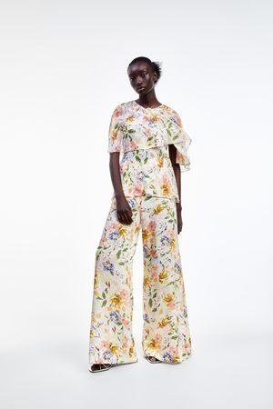 Zara Wijde broek met bloemenprint